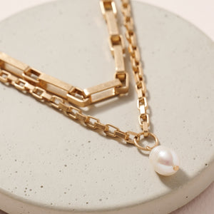 Pearl Charm Chain Linked Layered Necklace