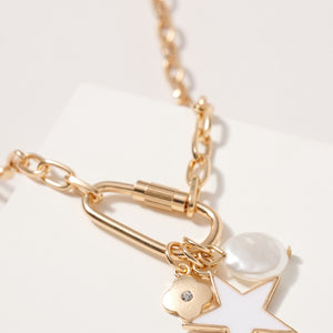 Star Pearl Charms Chain Linked Necklace