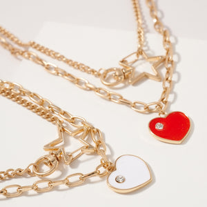 Heart Star Charms Layered Necklace