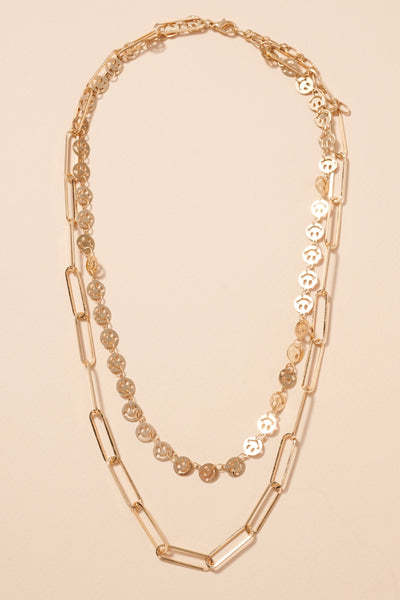 Smiley Charms Chain Linked Layered Necklace