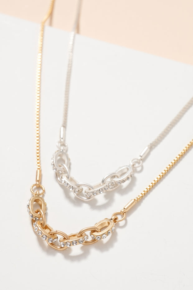Rhinestones Chain Linked Metal Necklace