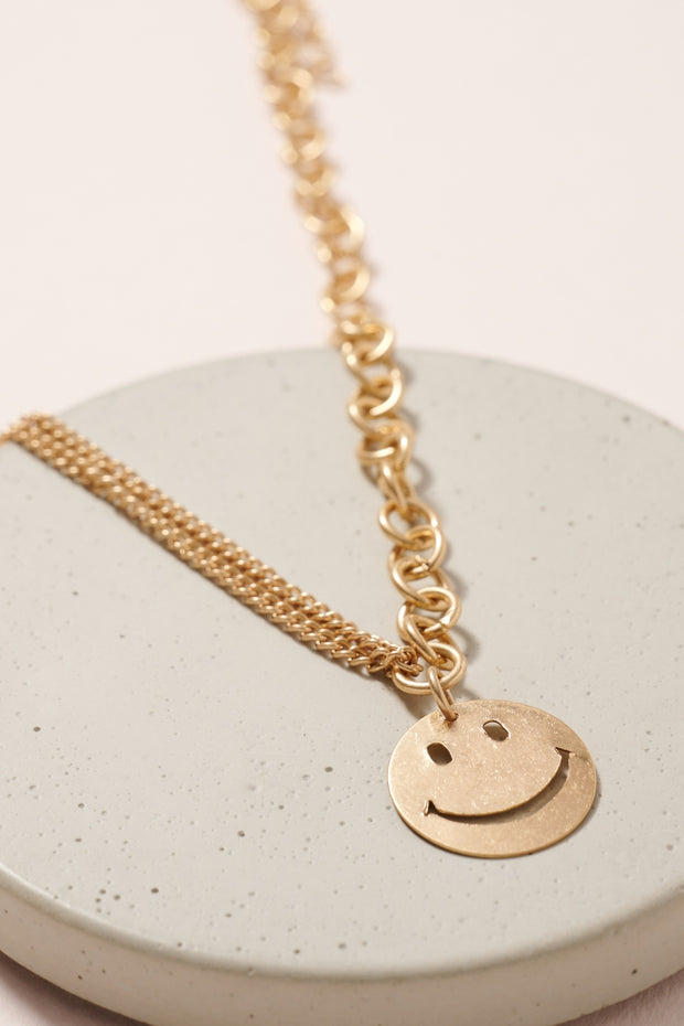 Smiley Charm Chain Linked Necklace