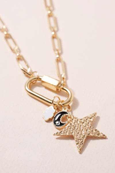 Star Moon Charms Chain Linked Necklace