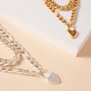 Heart Lock Charm Chunky Chain Linked Necklace