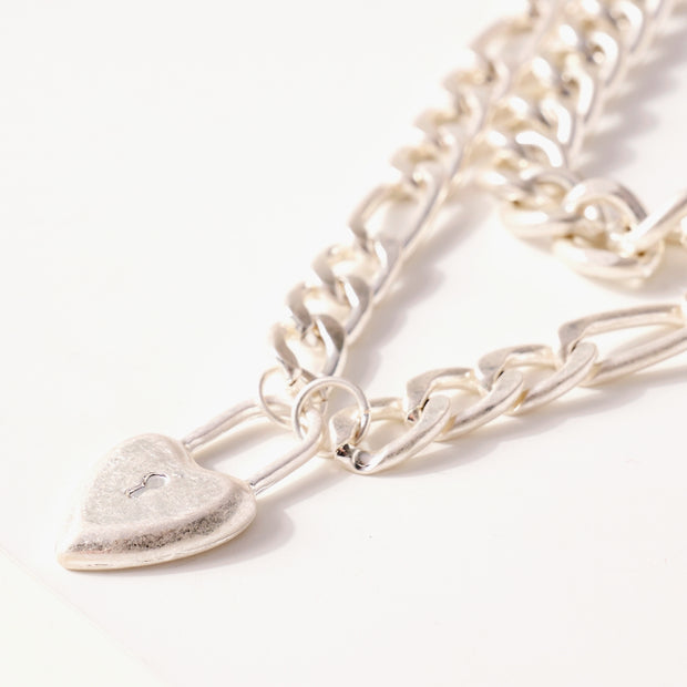Heart Lock Charm Chunky Chain Linked Necklace 1