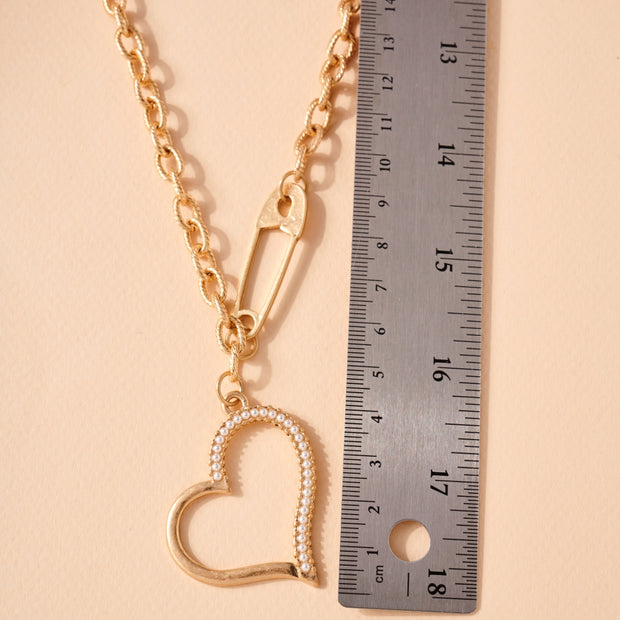 Heart Safety Pin Charms Chain Linked Necklace 1