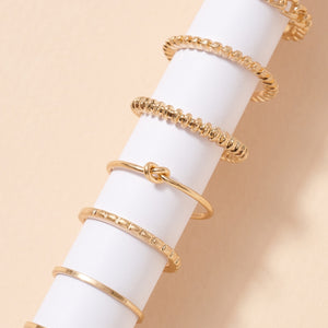 Chain Linked Knot Metal Rings Set