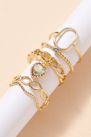 Chain Linked Heart Metal Rings Set