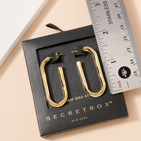 Secret Box Gold Dip Oval Hoop Earrings