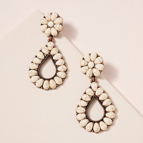 Western Design Tear Drop Natural Stones Earrings