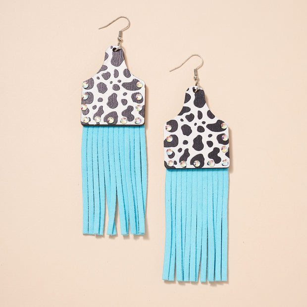 Animal Cattle Tag Fringed Dangling Earrings