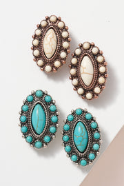Western Oval Natural Stones Clip On Earrings