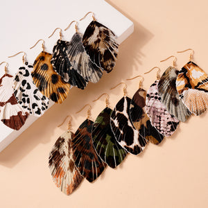Animal Print Feather Dangling Earrings