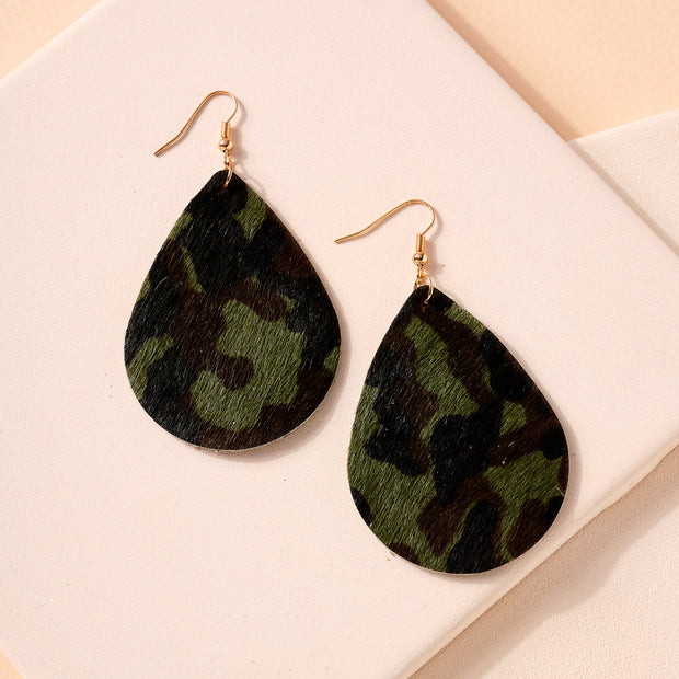 Animal Print Tear Drop Dangling Earrings