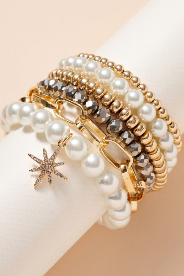 Norther Star Pearls Glass Beaded Bracelet Set