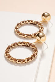 Leather Strap Chain Linked Hoop Earrings
