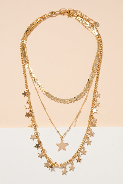 Star Charms Multi Layered Necklace
