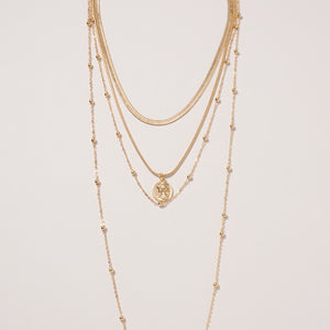 Coin Charm Multi Layered Necklace