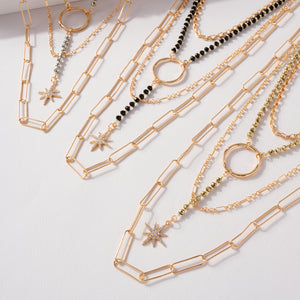 Northern Star Pendant Chain Linked Layered Necklace