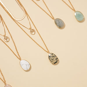 Stone Pendant Coin Charm Layered Necklace
