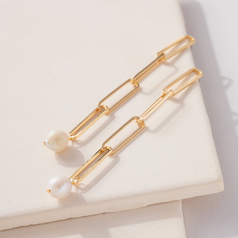 Pearl Charm Chain Linked Earrings