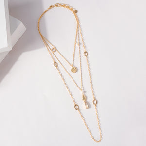 Glass Stone Coin Layered Necklace