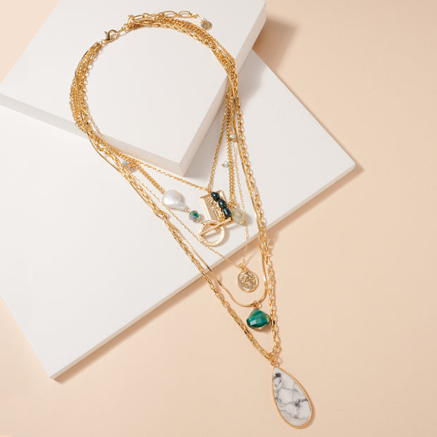 Pearls Stones Multi Layered Necklace 1