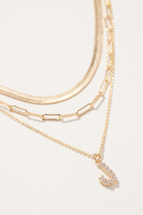 Initial Letter Charm Lariat Necklace