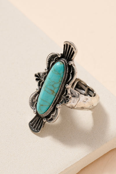 Tear Drop Turquoise Stone Stretch Ring