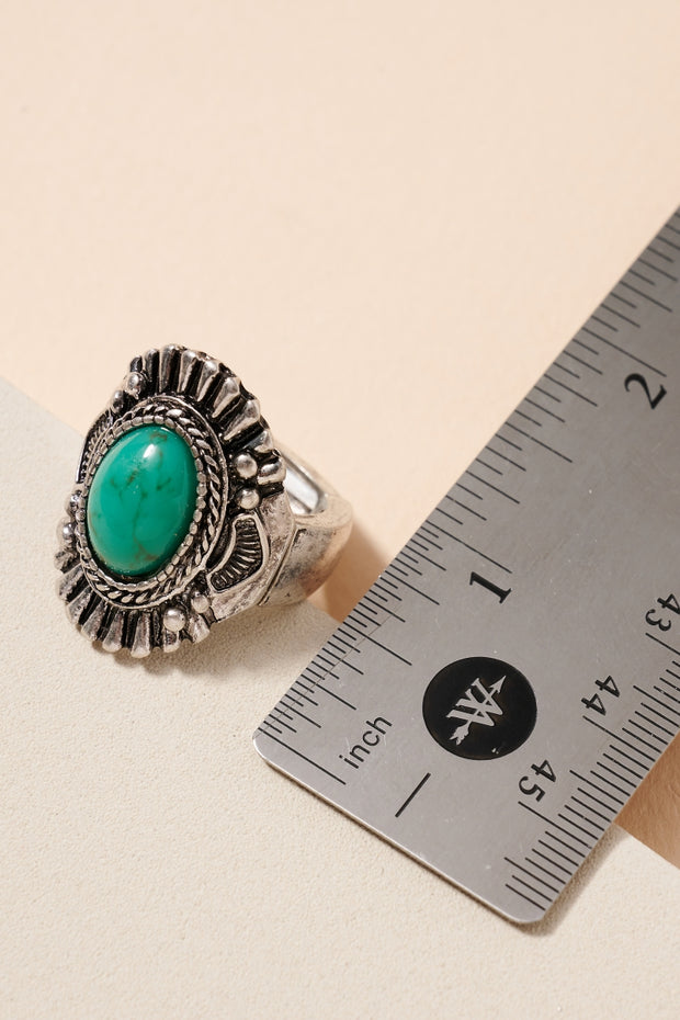 Classic Western Inspired Turquoise Stretch Ring