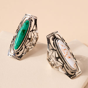 Western Style Stone Metal Open Ring