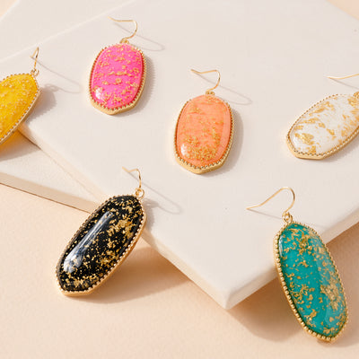 Glitter Gemstone Dangling Earrings
