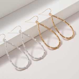 Tear Drop Metal Dangling Earrings