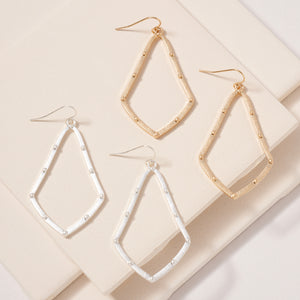 Rhombus Metal Dangling Earrings