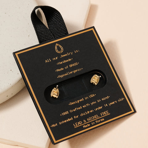 Open Circle Pave Gold Dip Stud Earrings