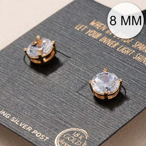 8 MM 4 Prong CZ Gold Dip Stud Earrings