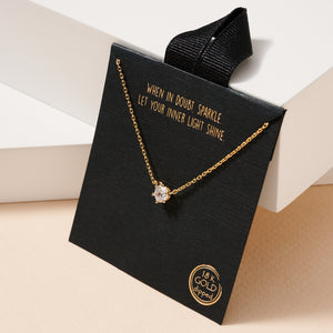 CZ Charm Gold Dip Short Necklace