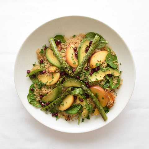 Asparagus, Avo and Peach Quinoa Salad