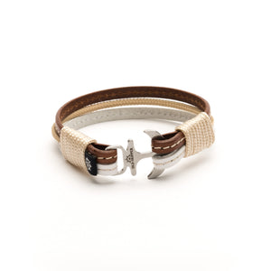 Anchor Leather with stitching Bracelet PERSEUS - Old Skipper