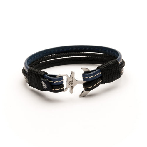 Anchor Leather with stitching Bracelet ENZO - Old Skipper