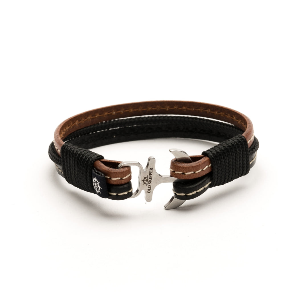 Anchor Leather with stitching Bracelet VENTURA - Old Skipper
