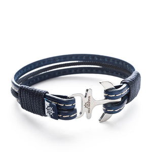 Anchor Leather with stitching Bracelet BAAL - Old Skipper