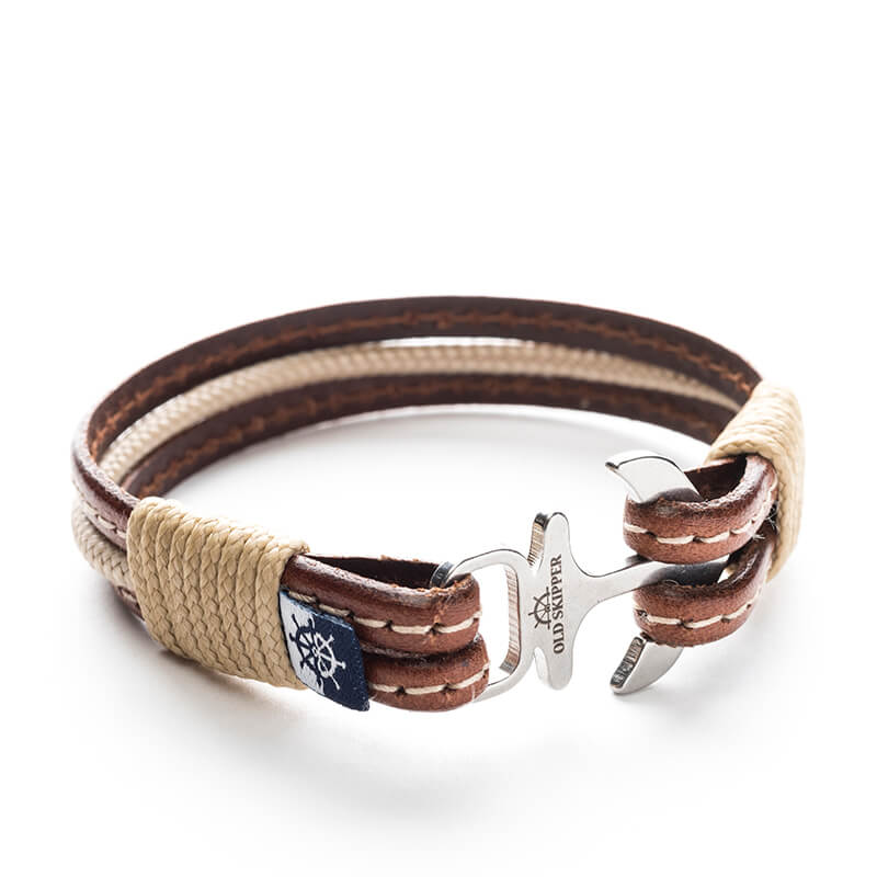 Anchor Leather with stitching Bracelet HERACLES - Old Skipper