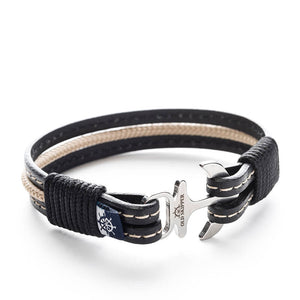 Anchor Leather with stitching Bracelet COROEBUS - Old Skipper