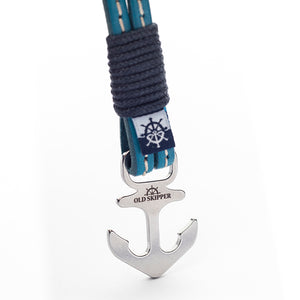 Anchor Leather with stitching Bracelet THESSALONIKE - Old Skipper