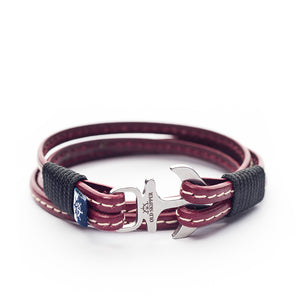 Anchor Leather with stitching Bracelet SEDNA - Old Skipper