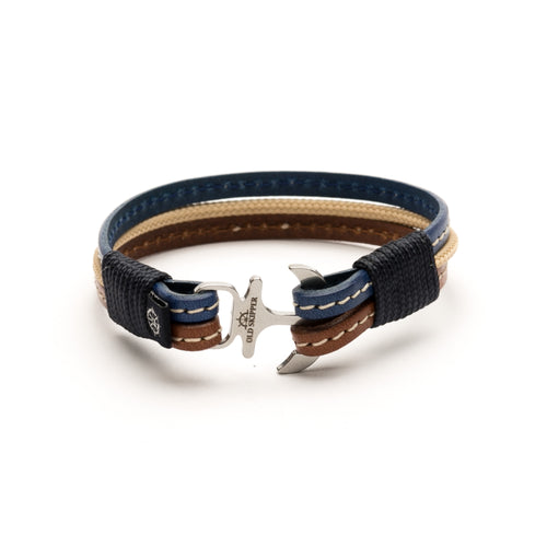 Anchor Leather with stitching Bracelet ODYSSEUS - Old Skipper