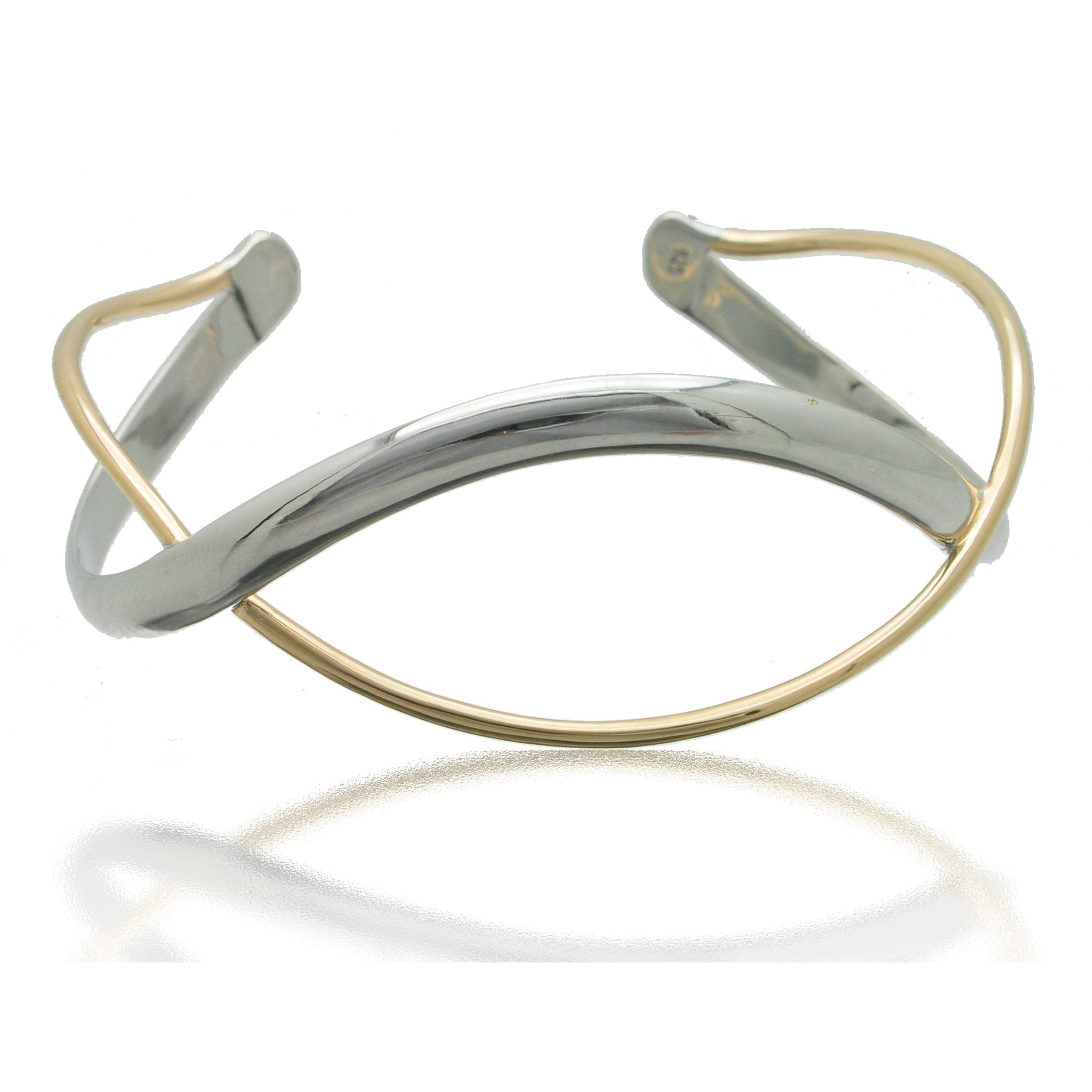 Contemporary Interlocking Silver and Gold Cuff Bracelet