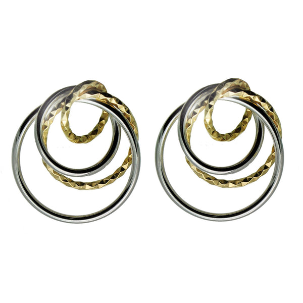 Quad Circle Silver and Gold  Earrings