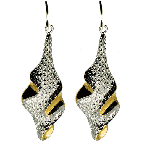 Sophisticated Diamond Cut Silver and Gold Earrings